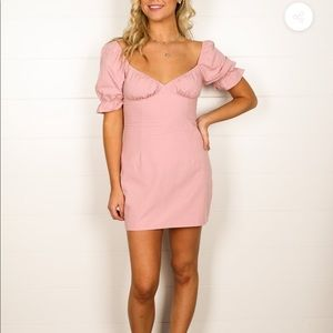 Puff sleeves V Neck mini dress